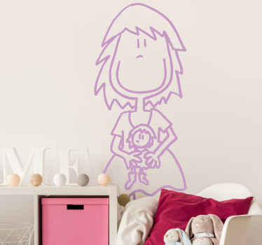 Line wall sticker drawing of a girl.  A simple decoration for children space especially for girls. It is available in any required size.