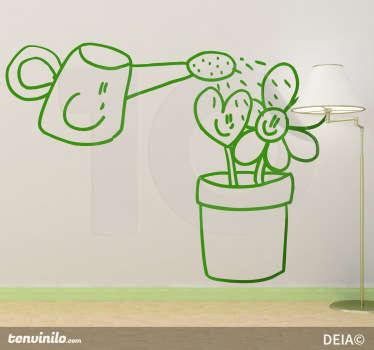 Adesivo murale che raffigura un simpatico bagnafiori animato che annaffia dei fiori sorridenti. Un disegno originale di Deia.