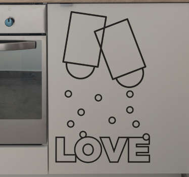 Aşk tuz ve biber duvar sticker