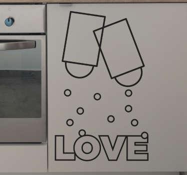 Kärlek salt & peppar vägg klistermärke