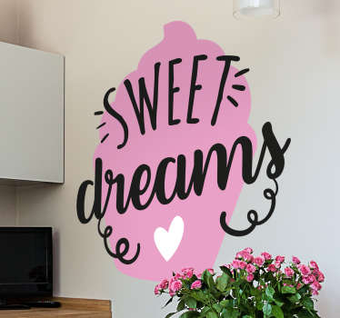 The cupcake decal reminds us that having cupcakes is like having sweet dreams! Can be used as a kitchen sticker or a dessert shop sticker.