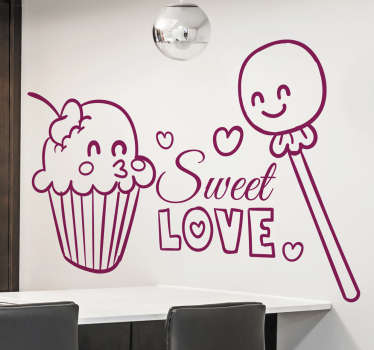 A food wall sticker illustrating a muffin and a lollipop in love! Love is in the air! Decorate your kitchen with this lovely monochrome decal. Enjoy the fantastic atmosphere this decal will create and also the brilliant appearance it will give to your kitchen.