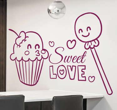 Tatlı aşk cupcakes çıkartması