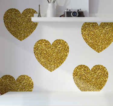 Glittery gold hearts wall sticker to change the look on any space with a lovely attention. Nice for bedroom, living room, hallway, etc.