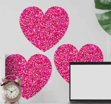 Pink heart shapes with glitter wall decal - Make any wall space or flat surface appear with a standout touch in this decorative heart shape design.