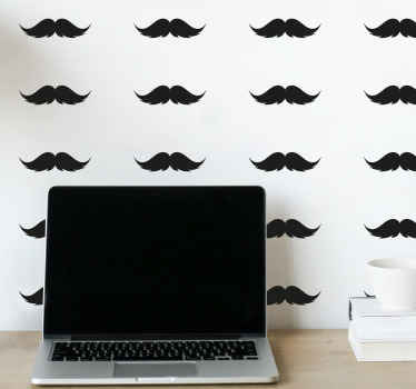 Sets of moustache pattern wall sticker - This design can be used to customize any wall space in a house and also for outdoor places.