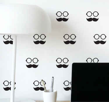 Moustache and glasses pattern wall sticker for your wall decoration. Fun and interesting design that would lively up your space with humor.