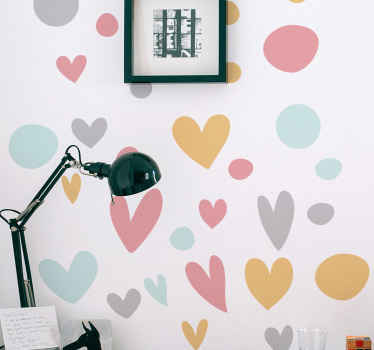 Colorful polka dots with hearts wall sticker - This design would transform the appearance of a space with a soothing and friendly atmosphere.