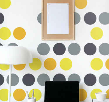 Customize your wall space with this lovely grey, dark grey and yellow circle dots wall sticker. Suitable for children bedroom, playroom, etc.