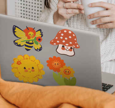 Different sunny symbols laptop skin sticker -Very cute design of smiling sun and bee that you would love. Easy to apply and removable.