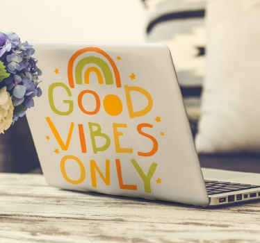 Wrap up your laptop device with this amazing decorative laptop decal featuring illustration of the sunset with text that says ''Good vibes only''.