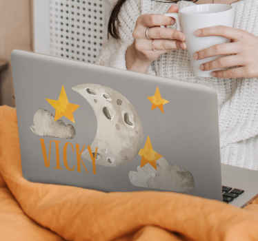 Personalized moon laptop skin - Personalizes your laptop surface with this pretty looking design of  moon, cloud and stars illustration in the sky