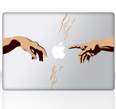 A spectacular design illustrating the famous Divine Hands of Michelangelo's artwork. A unique decal from our MacBook stickers collection.
