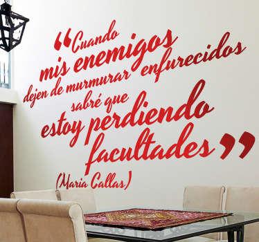 Vinilo decorativo Maria Callas