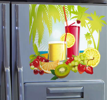 Tropical illustration of a couple of summer cocktails made from sweet vibrant and colourful fruits against an exotic background with palm trees. Decorate walls, windows, furniture, appliances and more.