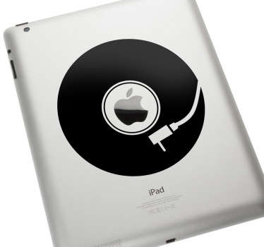 Sticker que ilustra um disco de vinil, ideal para decorar o seu Mac ou iPad. Tire vantagem do logo da Apple e transforme-o num disco em vinil!