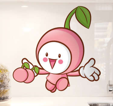 Happy wall sticker of a little pink Japanese-style cherry. The style of this illustration is for children but it is suitable for all ages because it can be used to decorate any room, especially designed for spaces where you cook or for greengrocers.