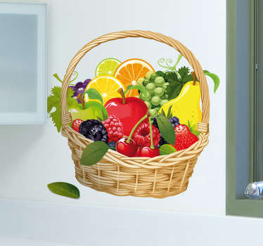 Kitchen Stickers - Colourful and vibrant design of a basket filled with fresh and healthy fruit. Ideal for decorating your kitchen.