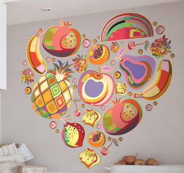 Naklejka na ścianę serce z owocami