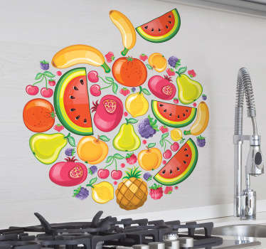 Kitchen Stickers - An apple shape collage consisting of watermelons, bananas, pears, pomegranates, pineapples. Vibrant and fruit wall sticker for bringing some colour to the walls of your kitchen to create a lovely atmosphere for eating food.