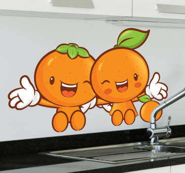 Två lyckliga klementiner vägg klistermärke