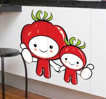 Sticker decoratie tomaten mannetjes