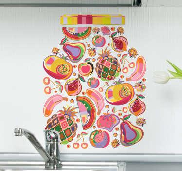 Adesivo decorativo barattolo frutta psichedelica