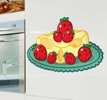 Sticker keuken kaas aardbeien dessert