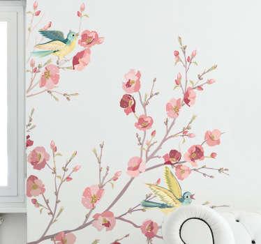 Mural de parede pássaros e flores aguarela
