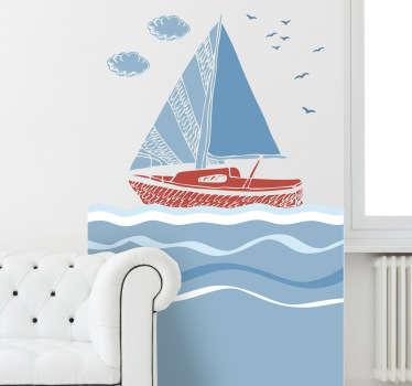 Sticker zeilboot op zee