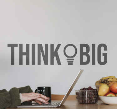 Think big quote inspirational sticker design - A design of text and light bulb illustration to amplify it meaning. It is durable and adhesive.