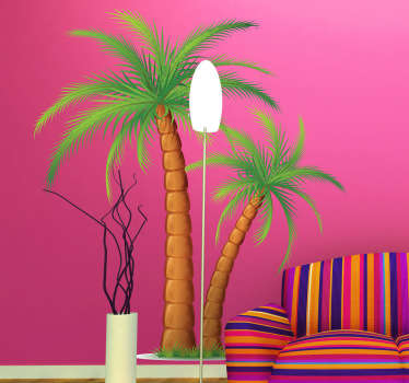 Vinilo decorativo pareja de palmeras