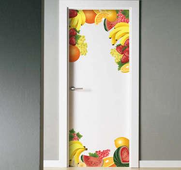 Vinilo decorativo puerta frutas