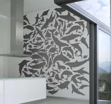 Sticker decorativo texture fauna marina