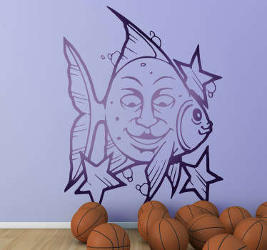 Decals - Fun illustration of a fish with a face on its side surrounded by stars. Distinctive feature to decorate your walls, cupboards and devices