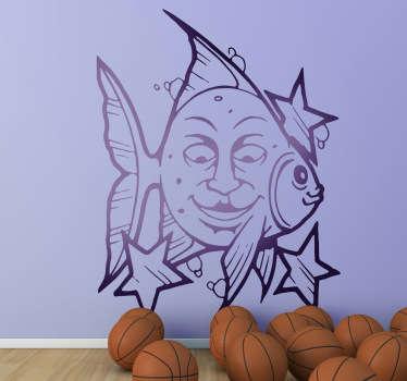 Sticker enfant tête poisson