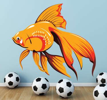 Orange Aquarium Fish Wall Sticker