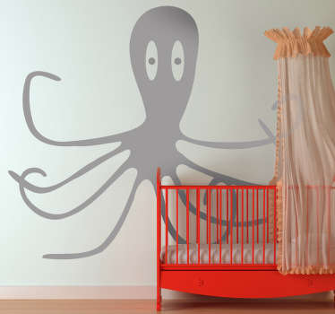 Sticker kinderkamer octopus grijs