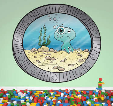 A brilliant design of an underwater porthole that shows you the sea life! A decal from our collection of sea wall stickers. Open a window to the sea with this fun and playful design. Out the porthole you can see a cartoon octopus, seaweed and the seabed.