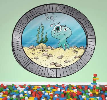 Deniz porthole altında çocuklar sticker