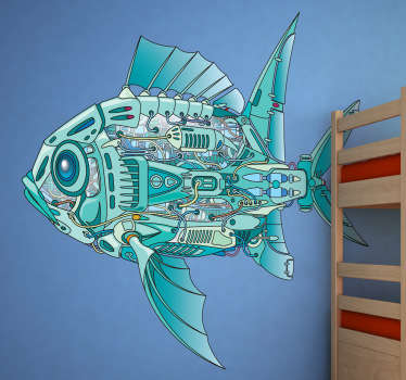 A superb kids wall sticker of a mechanical fish, a fun and playful illustration from our collection of robot wall stickers.