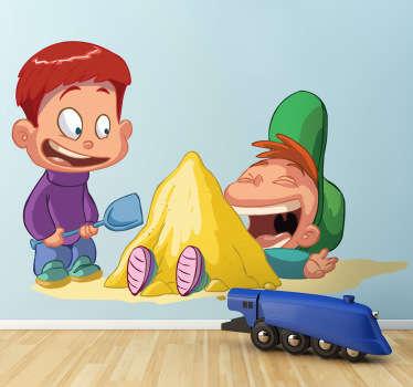Joli stickers autocollant représentant deux garçon s'amusant avec le sable dans un parc. Super idée déco pour la chambre d'enfant.