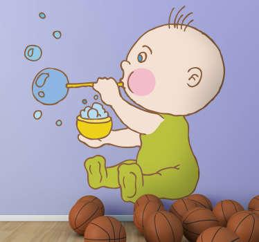 Adhesivo de un niño pequeño jugando a hacer bombollas de jabón.