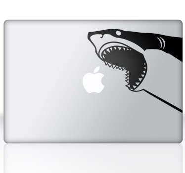 A cool design illustrating a hungry shark about to eat your Apple logo for lunch! This superb decal is from our collection of MacBook stickers.