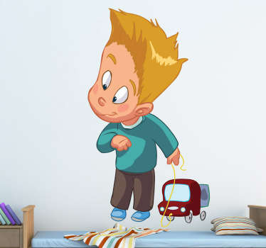 This wall sticker is great for your child´s room as it shows a young boy playing with his toy.