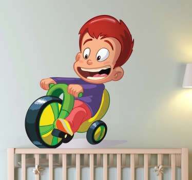 Specially designed for the little ones. A wall decal that shows a little boy on a tricycle, which runs happily through the area.