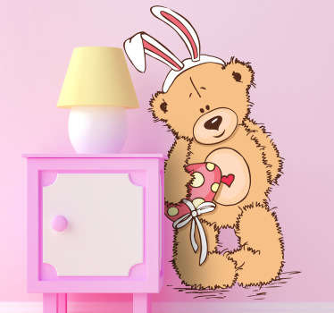 Decorative decal for children illustrating a teddy bear dressed as the Easter Bunny. Brilliant design from our teddy bear wall stickers collection!