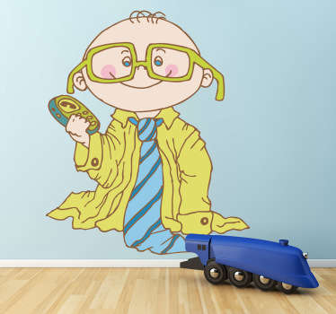 Fun sticker of a baby dressed up like his father, with a shirt, tie, glasses and telephone.