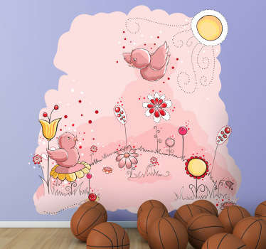 Kids Wall Stickers - Cute pink illustration of a meadow filled flowerrs and two singing birds. Colourful feature for decorating areas for children.