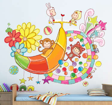 Kids wall art sticker design of costume party  feature. It is available in any required size and easy to apply on flat surface.